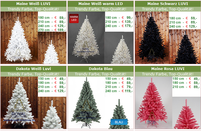 farbige Weihnachtsbäume
